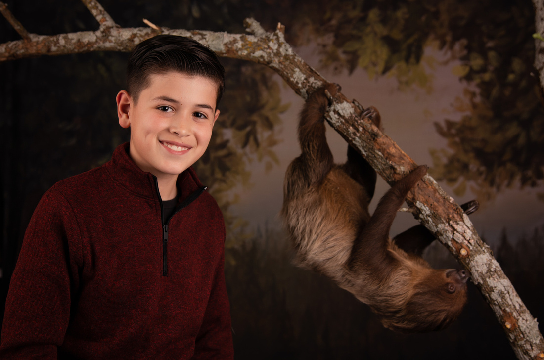 boy with a sloth portrait in fort worth tx