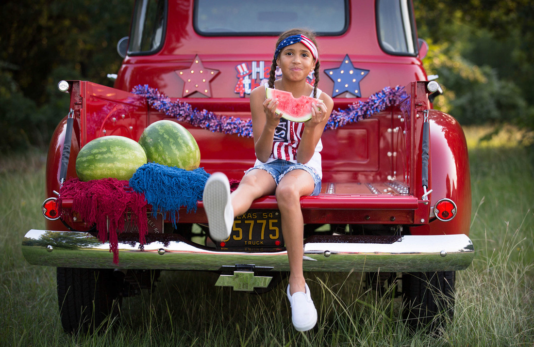 4th of july watermelon portrait with girl eating watermelon in arlington tx