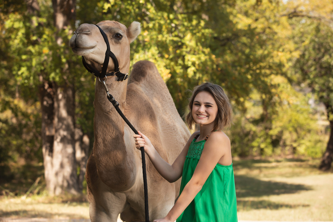 girl in green with a camel in fort worth tx