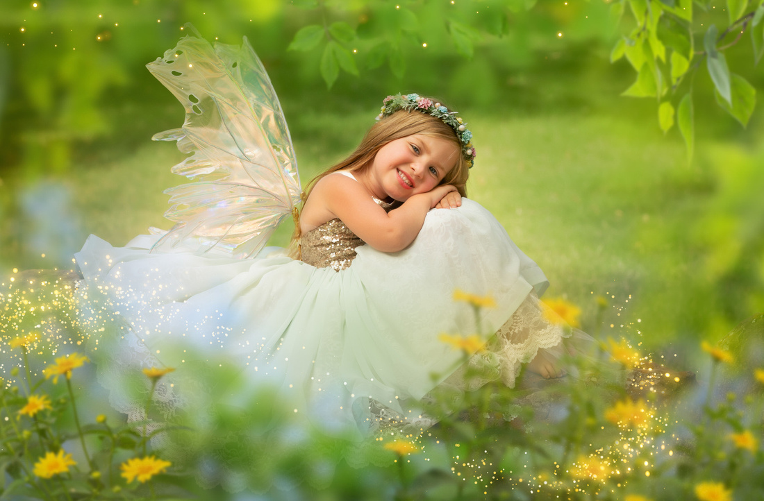 Fairy Portrait with yellow flowers in fort worth tx