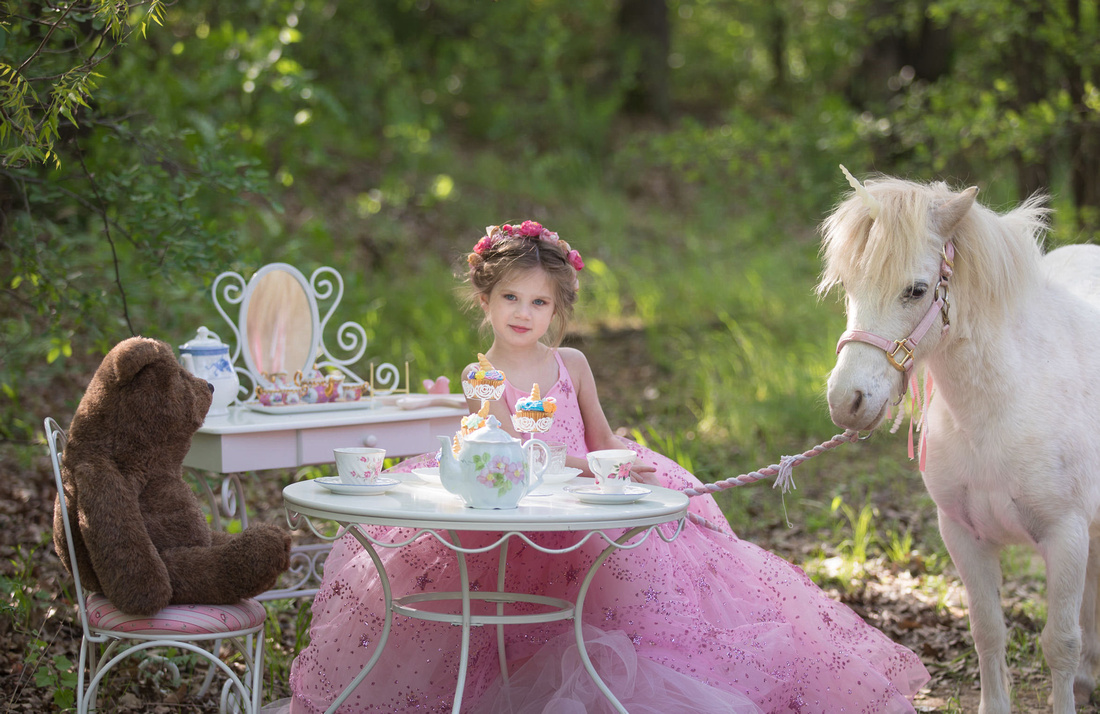 Unicorn and Bear tea party with a girl in a couture gown in arlington tx