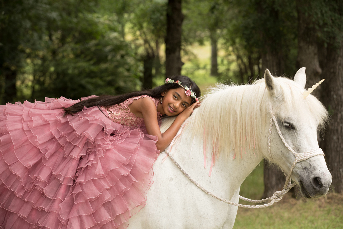 unicorn horse and girl in butterfly couture gown in fort worth tx