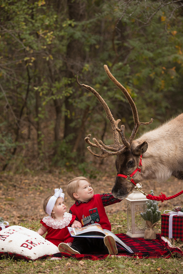 two kids gazing at a reindeer